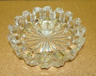 "Vtg Heavy Large Round Clear Cut Glass Ashtray 6 1/2 "" Wide 2.  8 Pounds"
