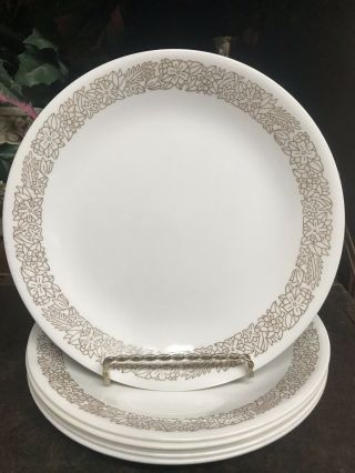 """Set Of 6 Vintage Woodland Brown Corelle By Corning Luncheon Salad Plate 8 1/2 """""""