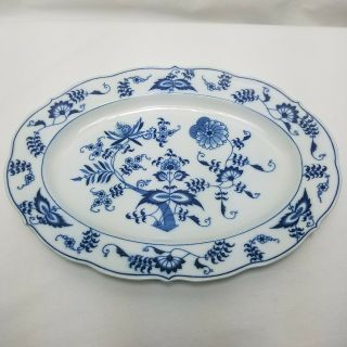 "Vintage Blue Danube 12 "" Oval Serving Platter Ribbon Banner Mark Blue Onion"