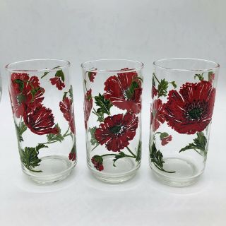 Vintage Libbey Red Poppy Drinking Glasses 1970s Flower Footed Set Of 3