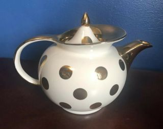 Vintage Hall China Windshield Gold Dot Teapot Tea Pot 6 Cup.