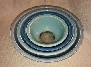 Vintage Pyrex Moody Blues Clear Bottom Mixing Nesting Bowls Set Of 4