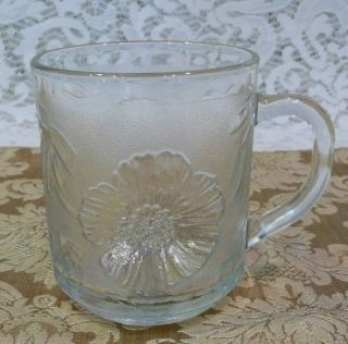 Set Of 4 Vintage Kig Malaysia Glass Coffee Mugs With Hibiscus Flowers