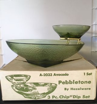 "Hazel Atlas 3 Piece Hazelware "" Pebbletone "" Avocado Design Chip & Dip Set Vintage"