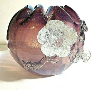Antique Vintage Bohemian Czech Art Glass Rose Bowl With Rigeree Amethyst