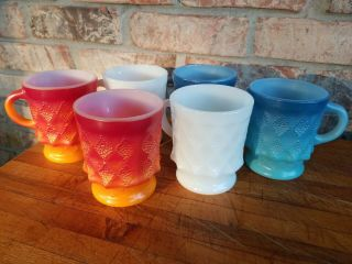 Set Of 6 Vintage Anchor Hocking Kimberly Diamond Oven Proof Coffee Cups Mugs 319