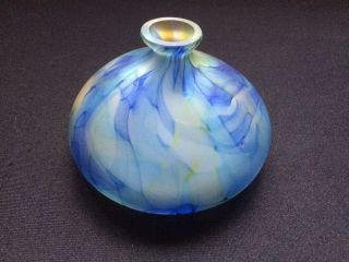 Vintage Squat Design Blue Art Glass Vase