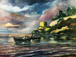 """Vintage Signed Oil Painting Stormy Mediterranean Coast With Boats 24"""" Unframed"""