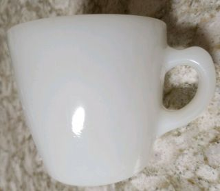 Vintage Fire King C - Handle Tapered Thick Restaurant Ware Milk Glass Coffee Mug