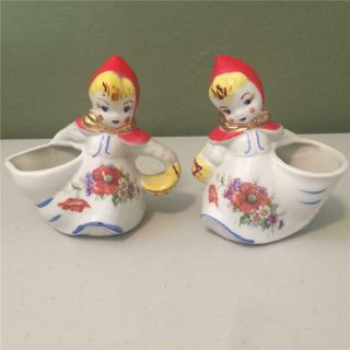 Vintage Hull Pottery Little Red Riding Hood Open Sugar Bowl And Creamer - 1940