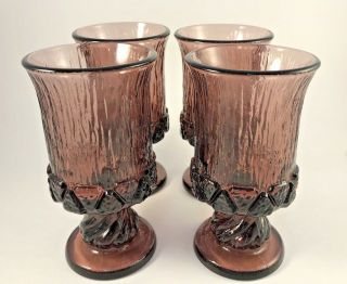 Vintage Fostoria Sorrento Water Glasses Goblets Purple Plum Amethyst S