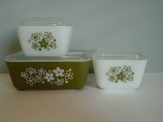 Vintage Pyrex 0502 Spring Blossom Crazy Daisy Kitchen Dish & Lid Set Of Three
