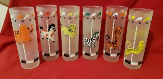 6 Vintage Libby Iced Tea Collins Glasses Frosted Carousel Circus Animal