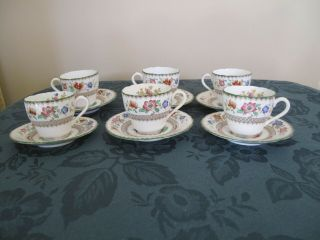 Set Of 6 Vintage Spode Chinese Rose Espresso Cups And Saucers C.  1930`s