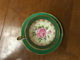 Vintage Aynsley Green Gold Trim Pink Cabbage Rose Tea Cup & Saucer C894
