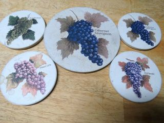 Unique Wine Themed Absorbent Stone Coaster Set,  For Bottle & Glasses Vintage