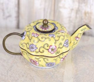 Vintage Miniature Teapot Yellow Multi Color Floral Porcelain Enamel Copper 1930s