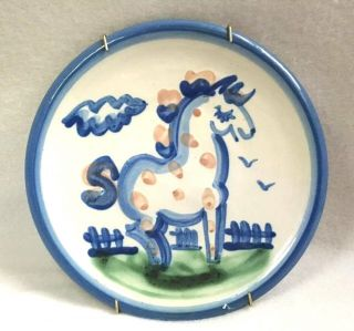 Vintage M A Hadley Pony Horse Small Dessert Plate Handmade Painted Ready To Hang