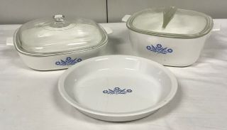 Vintage Corning Ware Cornflower White Blue Baking Pie Dish Set 5 & 2.  5 Qt 9 ""