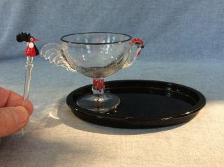 Vintage Westmoreland? Glass Rooster Egg Cup,  Black Plate And Cocktail Pick