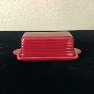 Vintage Franciscan Pottery El Patio Burgundy Maroon Covered Butter Dish