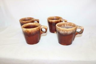 Vintage Set Of 4 Hull Pottery Brown Drip Glaze Coffee Mugs Cups Oven Proof Usa