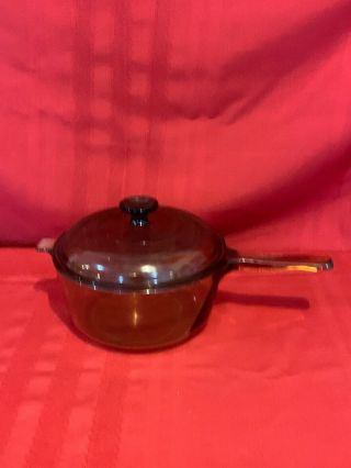 Vintage Corning,  Pyrex Vision Amber Glass 2.  5 L Glass Pot Sauce Pan With Lid Ai