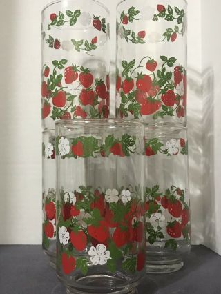 "5 Vintage Glass Tumblers Strawberries By Libbey 5"" Tall"