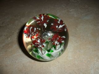 Vintage Antique Glass Paperweight With Flowers From 80 Year Old Next Door Neighb