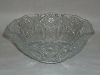 L.  E.  Smith Vtg Clear Quintec Glass Bowl Scalloped Edge - Euc