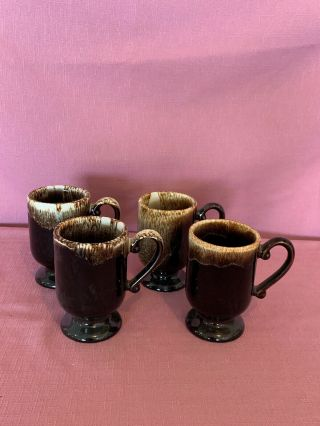 Pfaltzgraff Brown Drip Pedestal Footed Mugs Usa Vintage Set Of 2.  5b