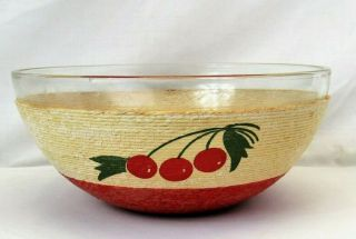 "Vintage Glass Serving Bowl Mid Century 9 "" Red Cherry Raffia Rope Wrapped"