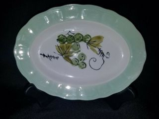 Vintage - Green - Corona Ironstone Platter - Hand Painted Grapes - Made In Japan