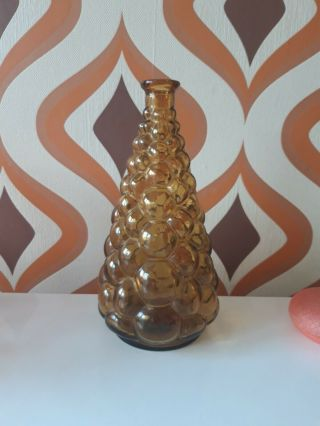 Vintage Retro Genie Bottle Decanter Bubble Empoli Italian Glass 70s No Stopper