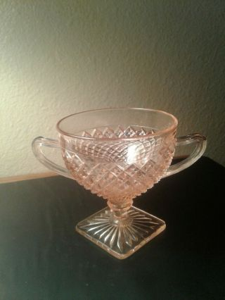 Vintage Pink Depression Glass Miss America Open Sugar Bowl