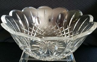 "Vintage Waterford Crystal Lismore 9 "" Scalloped Bowl Etched Cut Made In Ireland"