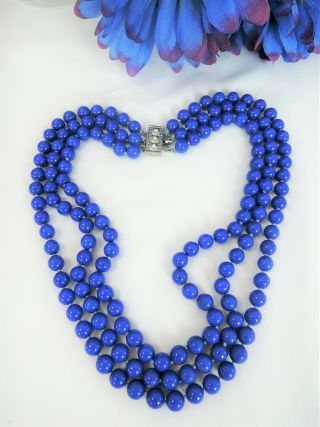 Heavy Vintage Triple Strand Silk Hand Knotted Blue Stone Glass Necklace Estate