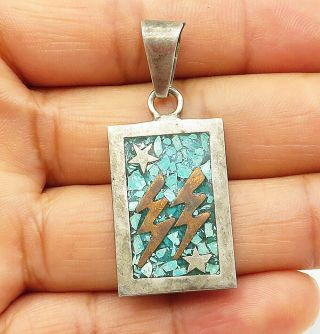 Mexico 925 Silver - Vintage Crushed Turquoise Lightening Bolt Pendant - P7318