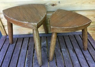 Vintage Benchwork Hand Crafted Beech Wood Tricorn Foot Stool Seats Table