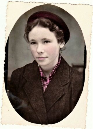 Hand Tinted Russian Photo,  Young Woman In Hat,  Fashion,  Vtg