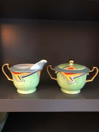 Vintage Meito China Japan Art Deco Luster Ware Cream And Sugar Handpainted