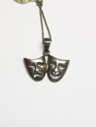 Vintage 925 Sterling Silver Theater Comedy Tragedy Masks Pendant Necklace