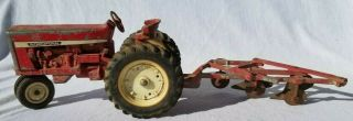 Vintage Ertl Red International Harvester Tractor And Plow Collectible Diecast