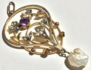 Vintage 9ct Gold Pendant With Amethest And Pearls