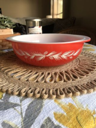 Vintage Pyrex 024 Holiday Pine Cone Promotional Casserole Dish Bowl,  2 Qt