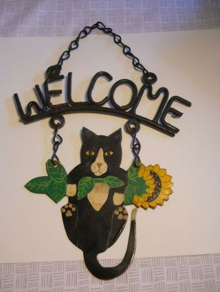 Vintage Wrought Iron Tin Hanging Welcome Sign Black Cat Sunflowers