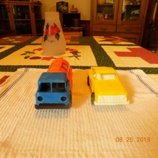 Vintage Plastic Gay Toys Cab Over Gulf Gas Truck And Yellow Pick Up Truck