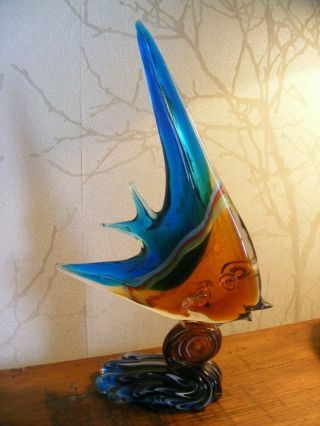Vintage/classic/retro Mid Century Murano Glass Angel Fish 12 In Tall Colourful