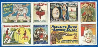 2014 4898 - 4905 Forever Vintage Circus Posters - Block Of 8 Never Hinged