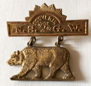 "Vintage Bear California Souvenir N.  S.  G.  W.  ""native Son Of Golden West"" Pin"